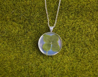 Dainty Genuine 5 Leaf Clover Necklace [SS 030] / Nickel, Cadmium, Lead Free; Silver Plated / White Clover Pendant /Triforium Repens
