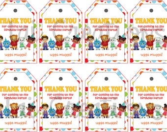 Daniel tigers Thank you Tags instant download , Daniel tiger Thank you Tags, Printable Daniel tiger party tags