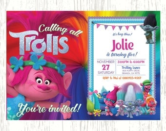 Trolls Invitation, Trolls Party, Trolls Birthday Invitation, Girl Trolls Invitation, Boy Trolls Invitation, Trolls Theme