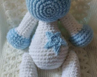 Stars & Moons Blue Baby Giraffe with moveable arms and legs