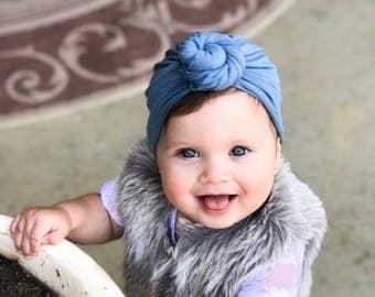 Steel blue, baby turban, knot turban, baby hat