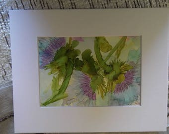 Alcohol ink painting. Thistles