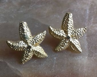 Elegant starfish earrings sterling silver 925 gold plate 22K,earrings womens, jewelerry womens gift sale gift for her gift for him birthday