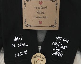 Cold feet socks, Just in case FREE sock wrapper Cold Feet Personalize socks w/bride name date optional Groom