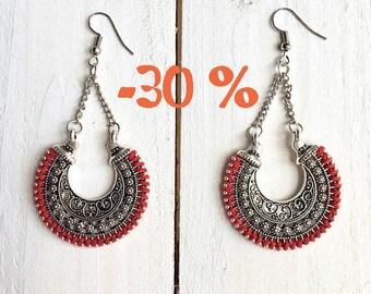 SUMMER SALE / / / Oriental moon earrings / / / engraved silver / 925 Silver hook
