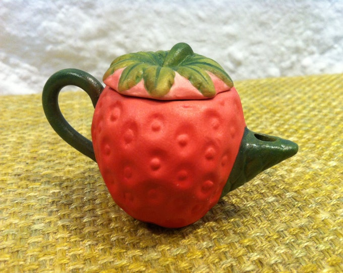 Vintage of old ceramic jug Strawberry pot miniature, doll