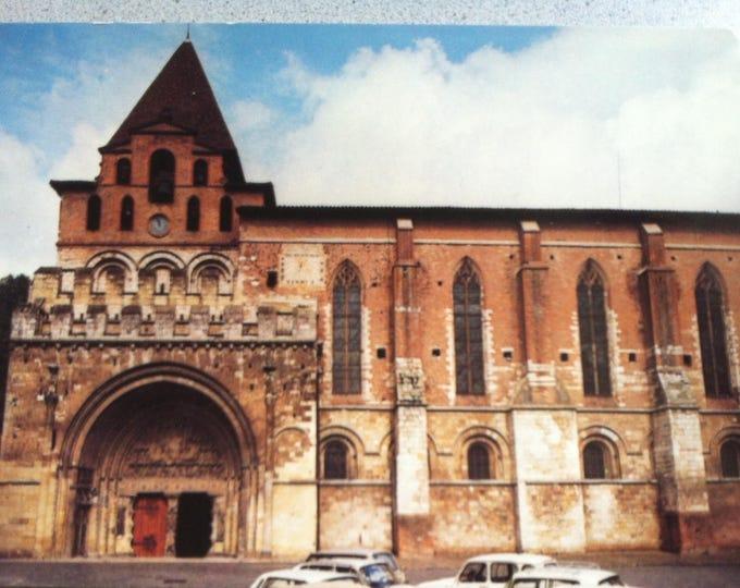 Vintage Religion Church abbatiale st pierre Postcard Maria Photo