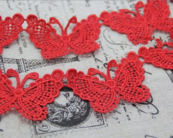 Red Solubility Embroidery Butterfly Lace Trim 1.96 Inches Wide 1 Yards/ Craft Supplies, WL848