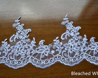 Bleached White Trim Lace, Lace Trim for Bridal Veil, Wedding Lace Trim,7.87 Inches Wide 1.09 Yards/ Craft Supplies, WL785