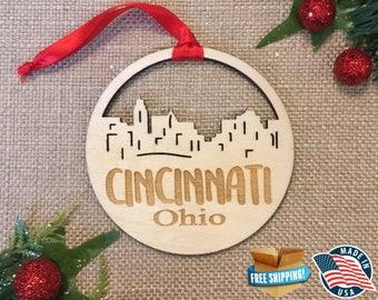 Cincinnati Ohio Ornament  *** Skyline Christmas Holiday Ornament *** OH