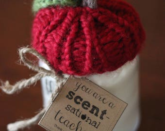 Teacher All Natural Soy Aromatherapy Candle w/ Knit Apple Topper