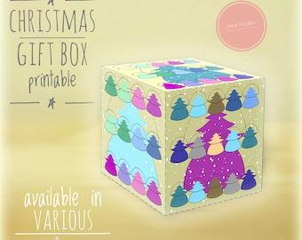 Christmas gift boxes, DIY, printable, Christmas tree, Holiday gift boxes, Christmas art,diy holiday decor, box, gift box, light yellow ocher