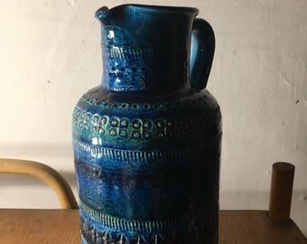 Bitossi Rimini Blue Ceramic 1960s Pitcher - Aldo Londi Era - Mid Century