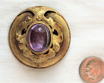 "Estate 14k HEAVY Yellow Gold 1800s Amethyst Brooch or Pendant Engraved Nov 8 1859 SCS to RCS 16.5g Big Pin 1.5"" Large 14kt 14 k kt Vintage"