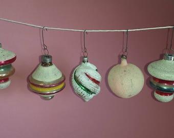 VIntage Shiny Brite, mica, stripes, Christmas ornaments