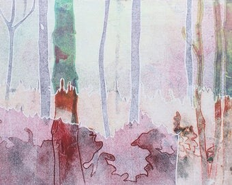Handmade Original Woodland Forest Mono Print | Nature | Pink | Pastel | Art | Mothers Day | Trees | Sunset | Housewarming Gift | Snowtap