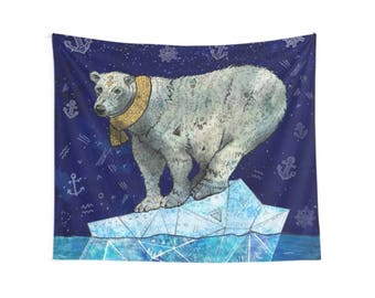 Stellar Edge, Polar Bear Wall Hanging, Polar Bear Wall Tapestry, Polar Bear Wall Decor, Polar Bear Illustration, Arctic Wildlife, Animals