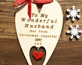 Our First Christmas,  Husband 1st Xmas, First Christmas Card, I love you Cards, Husband Card, Christmas Heart, Love Christmas Cards