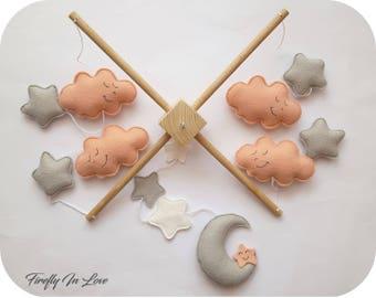Baby Mobile - Baby Crib Mobile - Nursery Mobile Clouds – Stars and Clouds Mobile – Moon Baby Mobile – Hanging mobile – Moon Cot Mobile