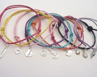 Sterling Silver Charmed Corded Bracelet