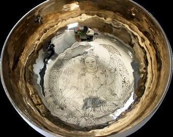 Top Nepalese singing bowl from range - Tara engraving