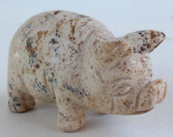 Pig Swine Hog Carving Stone Carving Animal Fetish Figurine Picture Jasper