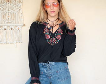 Vintage Embroidered Cotton Peasant Top
