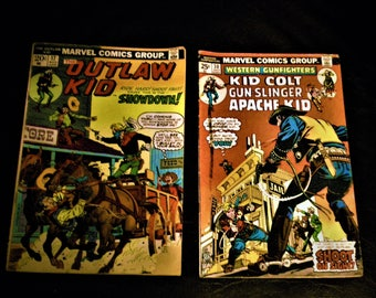 Vintage Marvel Comics Outlaw Kid and Western Gunfighters