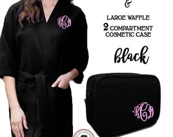 Monogrammed Ladies' Waffle Weave Robe & Deluxe Waffle Cosmetic Case- Black -FREE SHIP