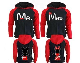 Mr Mrs Couple Hoodies, Disney Couple Hoodies, Pärchen Pullover Couple Hoodies Mickey, Couple Hoodies King And Queen