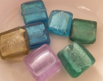 7 pc Lampwork Beads approx 16x16mm