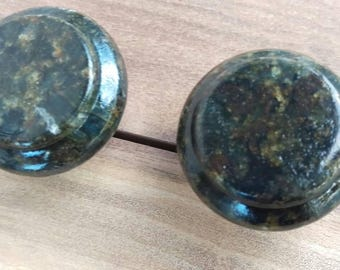 Set Of 2 Uba Tuba Marble Pebble Natural Stone Drawer Cabinet Door Knob Pull