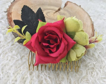 Valentines headpiece floral hair comb flower Red gift for wife woodland headpieces boho hair clip decorative headpiece wedding flower comb