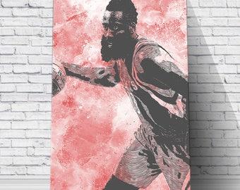 James Harden - Houston Rockets Print: Wall Art - Canvas Print - Art - Wall Decor - Man Cave Decor - Sign - Digital Illustration