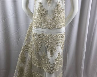 Lace Fabric Beaded Trim Sewing Ivory-Gold Trimming Edge Embroidered Wedding Craft Bridal Veil By The Yard