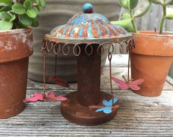 Fairy Garden | Miniature Swings Carnival Fair Ride | Rustic Metal with Painted Patina | Whimsical County Fair for Fairies & Gnomes