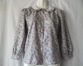 Women Vintage Colorful Flower Print Blouse,Long Sleeves Buttons Front Blouse with Collar,Vintage Printed Colorful Blouse,Flower Print Shirt