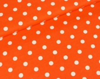 Cotton white points on orange (8,50 EUR / meter)