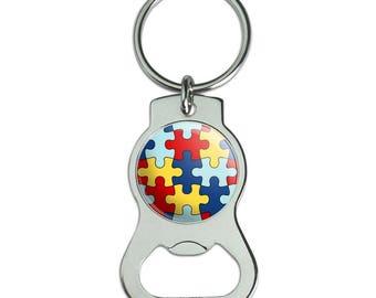 Autism Awareness Diversity Puzzle Pieces Bottle Cap Opener Keychain Key Ring