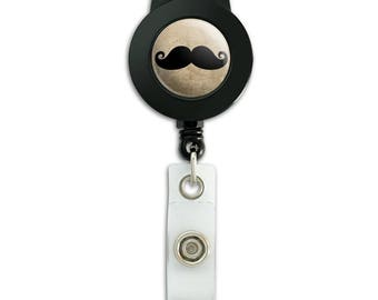 Curly Mustache Lanyard Retractable Reel Badge ID Card Holder