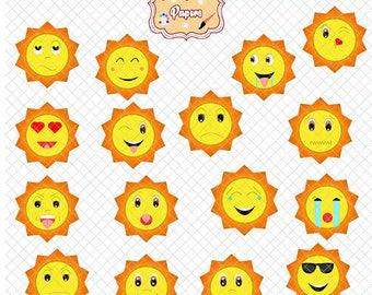 Sun clipart, emoji clipart, fun clipart, sol graphics, planner accesories, emoticons/emoji clipart, party