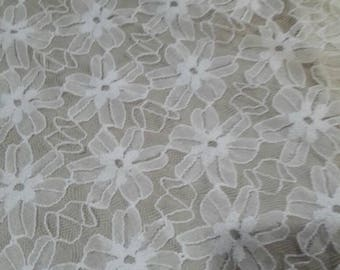 "45"" width, PEARL WHITE  floral lace material,  accent polyester, acrylic embossed fabric, stretchy, puffed lace, lace fabric, net, lacey"