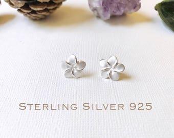 Sterling Silver, Plumeria stud earrings, Plumeria earrings, Plumeria studs, Gold Plumeria, Rose Gold Plumeria, Flower earrings.