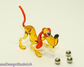 Glass Figurine Dog Glass Animals Blown Glass Dog figurines Miniature Glass Home decor Murano Sculpture Big Dog lover Unique gift  Lampwork