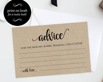 Advice Cards - Advice Card Template - Wedding Advice Cards - Advice Printable - Simple Wedding - Downloadable wedding #WDH878PL89