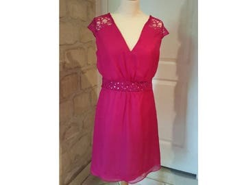 Hot pink lace and chiffon ceremony dress Womens cocktail evening