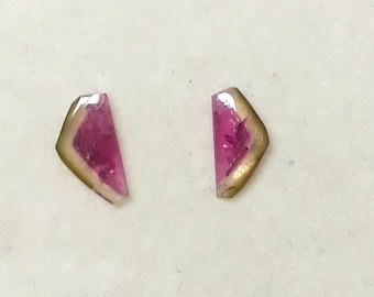 1.90Cts Natural Watermelon Tourmaline Gemstone Tourmaline Cabochon Slice Pair Loose Bi-Color Tourmaline Slice Jewelry Tourmaline 5.5X11.5 MM