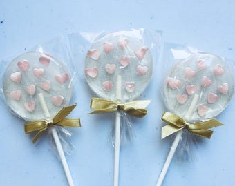 Pink and gold favors, set of 3 sweet heart filled lollipop for baby shower, golden pink wedding favor, pink sweet sixteen gifts for guests