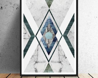 Poster, graphic Aztec, grey, blue, green, textures, marble, graphic, Aztec, print, wall decoration, wall art, illustration, collage