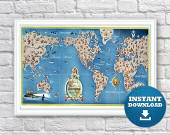 Digital Vintage Map Of ItalyInstant DownloadPrintable - Venice map printable